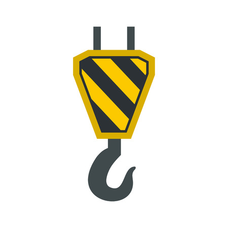 Hook from crane icon in flat style isolated on white background. Equipment symbol vector illustration Illustration