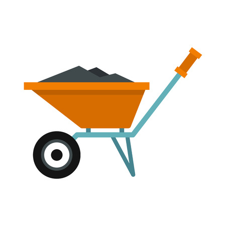 Wheelbarrow with construction debris icon in flat style isolated on white background. Trash symbol vector illustration Illustration