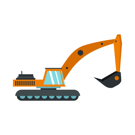 earth mover: Excavator icon in flat style isolated on white background. Digging machine symbol vector illustration
