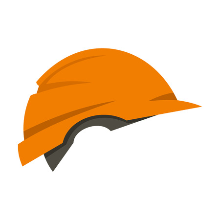 Construction helmet icon in flat style isolated on white background. Repair symbol vector illustration