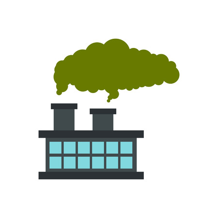 chemical plant: Chemical plant with cloud of smoke icon in flat style isolated on white background. Manufacture symbol vector illustration