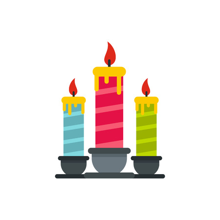 Festive candles icon in flat style isolated on white background. Holiday symbol vector illustration Illustration