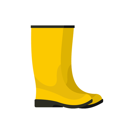 Yellow boots icon in flat style isolated on white background. Shoes symbol vector illustration