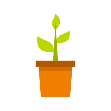 clay pot: Plant in clay pot icon in flat style isolated on white background. Gardening symbol vector illustration