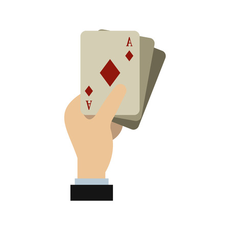hand holding playing card: Hand holding playing cards icon in flat style isolated on white background. Play symbol vector illustration