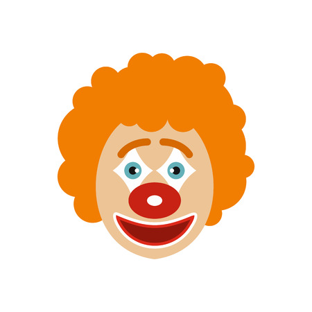 Clown face icon in flat style isolated on white background. Circus symbol vector illustration