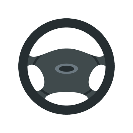 ring road: Car rudder icon in flat style isolated on white background. Spare parts symbol vector illustration Illustration