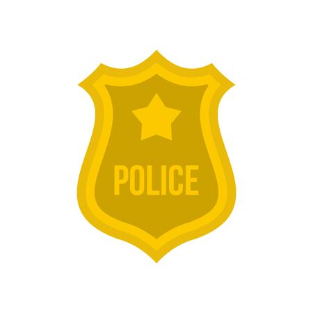 Police badge icon in flat style isolated on white background. Emblem symbol vector illustration