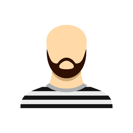 confinement: Prisoner with a beard icon in flat style isolated on white background. Punishment symbol vector illustration