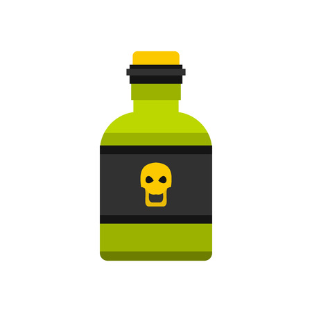 toxin: Bottle of poison icon in flat style isolated on white background. Toxin symbol vector illustration