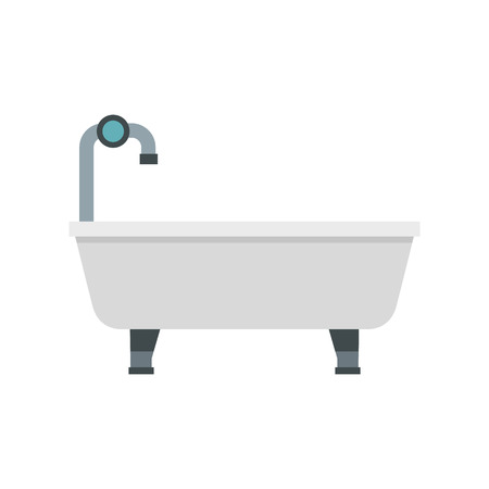 old style: Bath with tap icon in flat style isolated on white background. Bathing symbol vector illustration