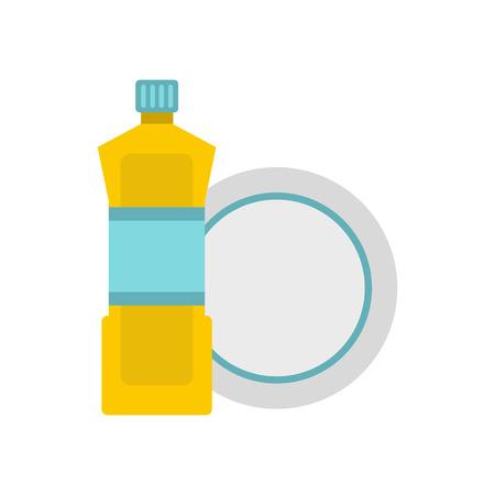 Bottle for dishwashing icon in flat style isolated on white background. Cleaning symbol vector illustration