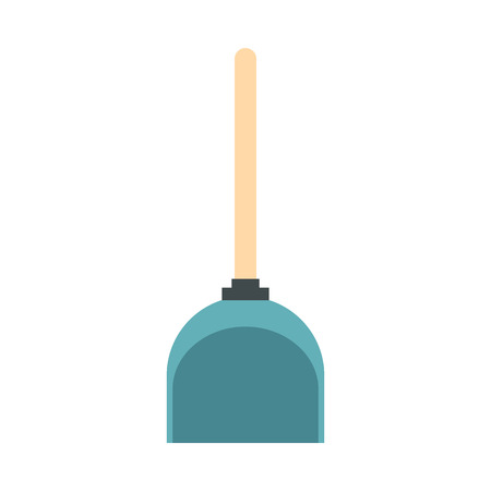 whisk broom: Dustpan icon in flat style isolated on white background. Cleaning symbol vector illustration
