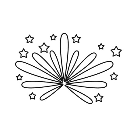 Fireworks icon in outline style isolated on white background. Holiday symbol vector illustration