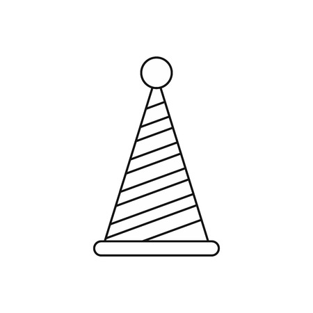 Party hat icon in outline style isolated on white background. Holiday symbol vector illustration Illustration