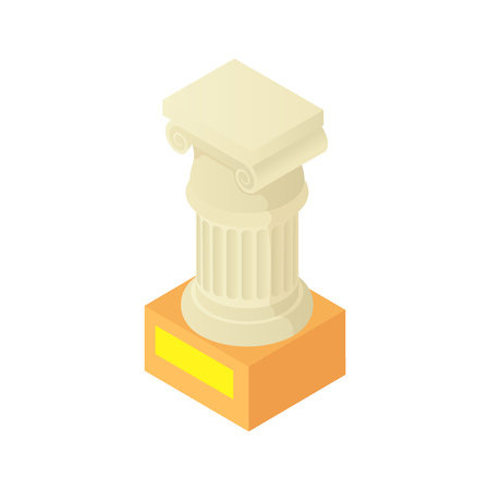 roman pillar: Antique column pillar in museum icon in cartoon style isolated on white background vector illustration Illustration