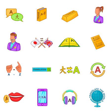 translator: Translator icons set in cartoon style. Language interpreter set collection vector illustration