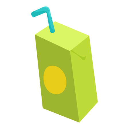 Pack of juice with drinking straw icon in cartoon style isolated on white background vector illustration Illustration