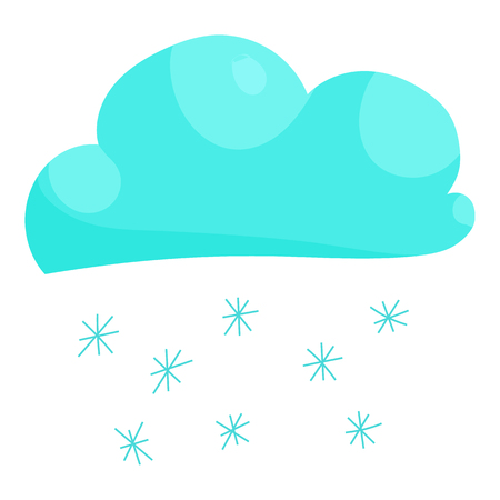 hailstorm: Cloud snow icon in cartoon style isolated on white background vector illustration