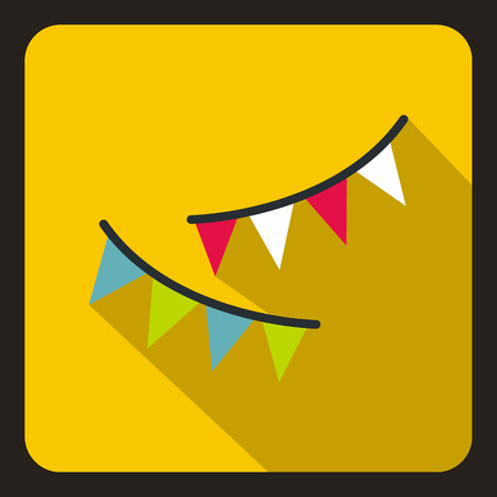 decora: Colorful party flags icon in flat style on a yellow background vector illustration