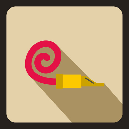 party horn blower: Party blower icon in flat style on a beige background vector illustration Illustration