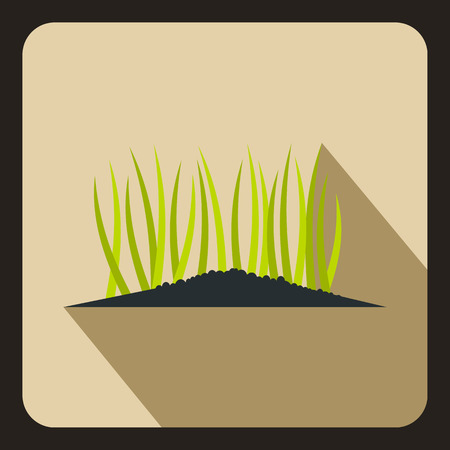 germinate: Young sprout seedlings icon in flat style on a beige background vector illustration
