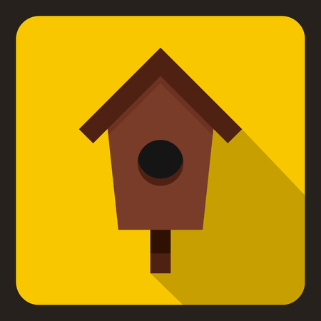 nesting box: Birdhouse or nesting box icon in flat style on a yellow background vector illustration