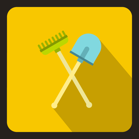 shove: Shove and pitchfork icon in flat style on a yellow background vector illustration