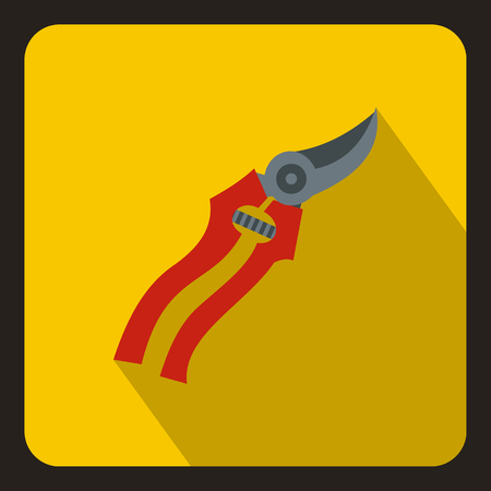 pruner: Pruner icon in flat style on a yellow background vector illustration