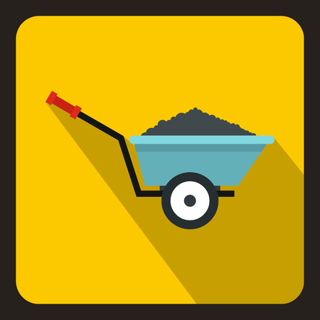 back yard: Wheelbarrow with ground icon in flat style on a yellow background vector illustration