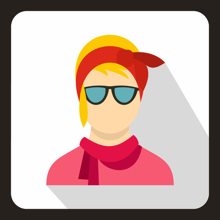 Hipster woman icon in flat style on a white background vector illustration Illustration