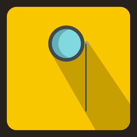 monocle: Monocle icon in flat style on a yellow background vector illustration