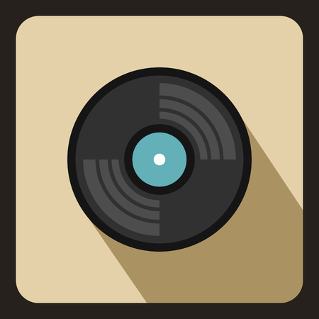 Gramophone vinyl LP record icon in flat style on a beige background vector illustration
