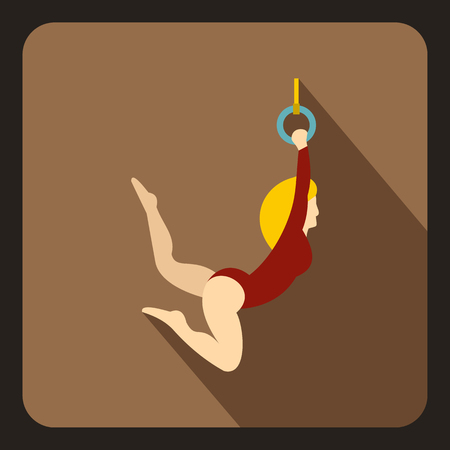 Female aerialist icon in flat style on a coffee background vector illustration