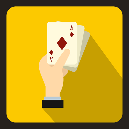Hand holding playing cards icon in flat style on a yellow background vector illustration