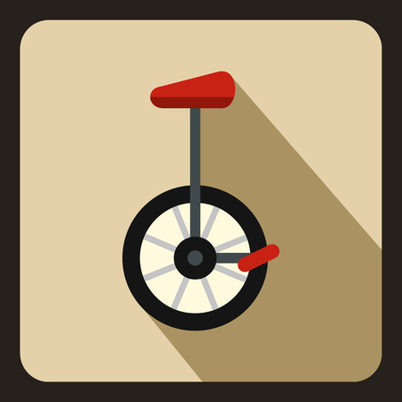 balancing act: Unicycle icon in flat style on a beige background vector illustration