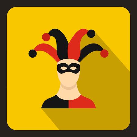 pantomima: icono de bufón en el estilo plano sobre un fondo amarillo ilustración vectorial Vectores