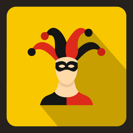 Jester icon in flat style on a yellow background vector illustration