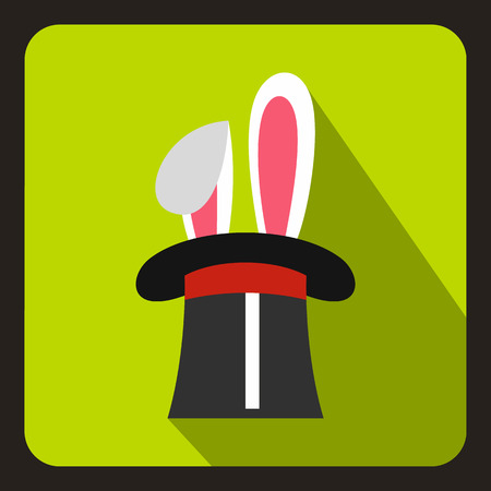 Rabbit appearing from a top magic hat icon in flat style on a lime background vector illustration Illustration