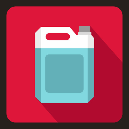 jerry: Plastic jerry can icon in flat style on a crimson background vector illustration