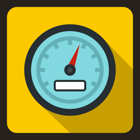 Speedometer icon in flat style on a yellow background vector illustration