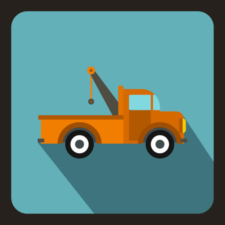 evacuating: Car towing truck icon in flat style on a baby blue background vector illustration