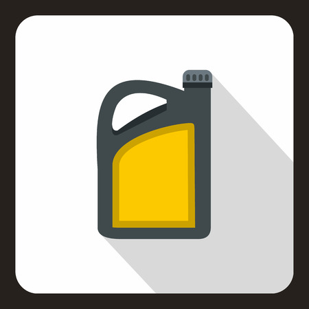 oilcan: Canister of motor oil icon in flat style on a white background vector illustration