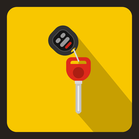 Car key with remote control icon in flat style on a yellow background vector illustration