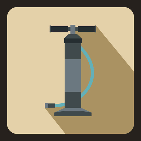air pump: Hand air pump icon in flat style on a beige background vector illustration Illustration