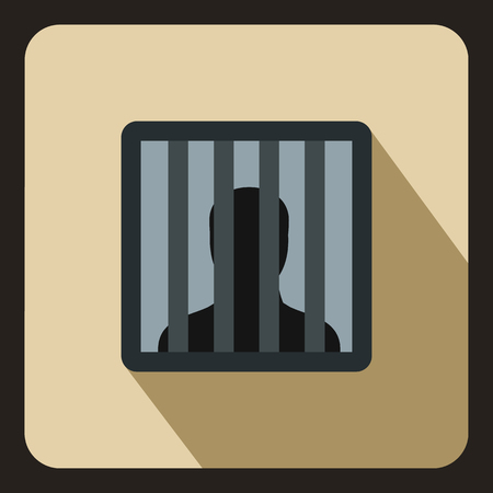 man in jail: Man behind jail bars icon in flat style on a beige background vector illustration Illustration