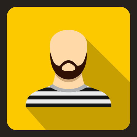 jailbird: Bearded man in prison garb icon in flat style on a yellow background vector illustration Illustration