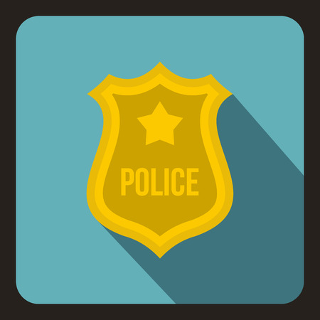 border patrol: Police badge icon in flat style on a baby blue background vector illustration