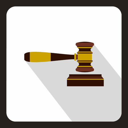 counsel: Judge gavel icon in flat style on a white background vector illustration