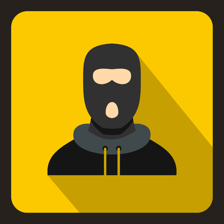 lawbreaker: Man in balaclava icon in flat style on a yellow background vector illustration